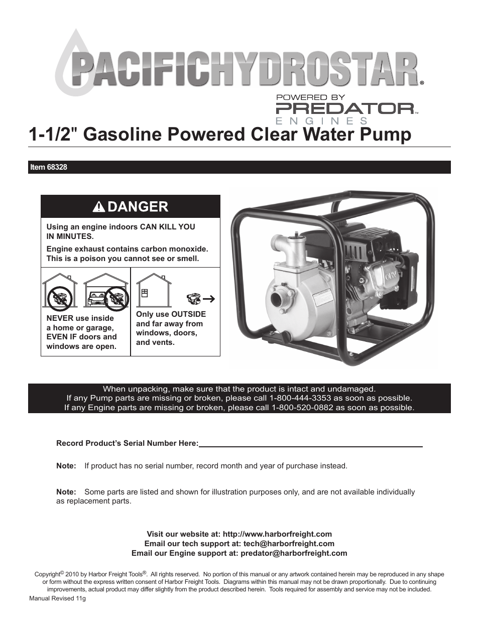 medium resolution of harbor freight tools pacific hydrostar 1 1 2 gasoline powered clear water pump 68328 user manual 24 pages