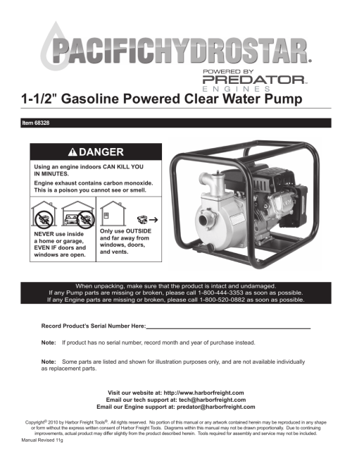 small resolution of harbor freight tools pacific hydrostar 1 1 2 gasoline powered clear water pump 68328 user manual 24 pages
