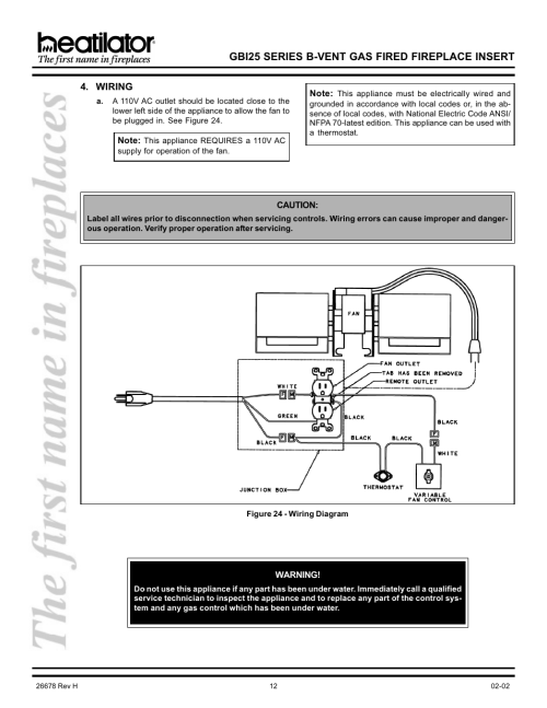 small resolution of wiring gbi25 series b vent gas fired fireplace insert hearth and home technologies gbi25 user manual page 12 24