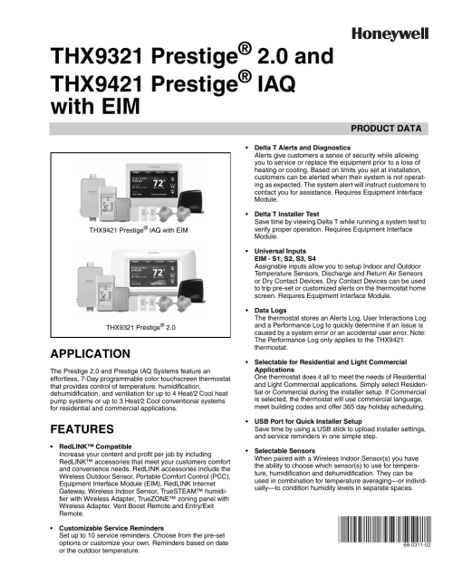 small resolution of honeywell prestige thx9321 user manual 160 pages also for prestige thx9421