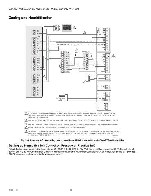 small resolution of zoning and humidification thx9321 prestige iaq with eim honeywell prestige thx9321 user manual page 156 160