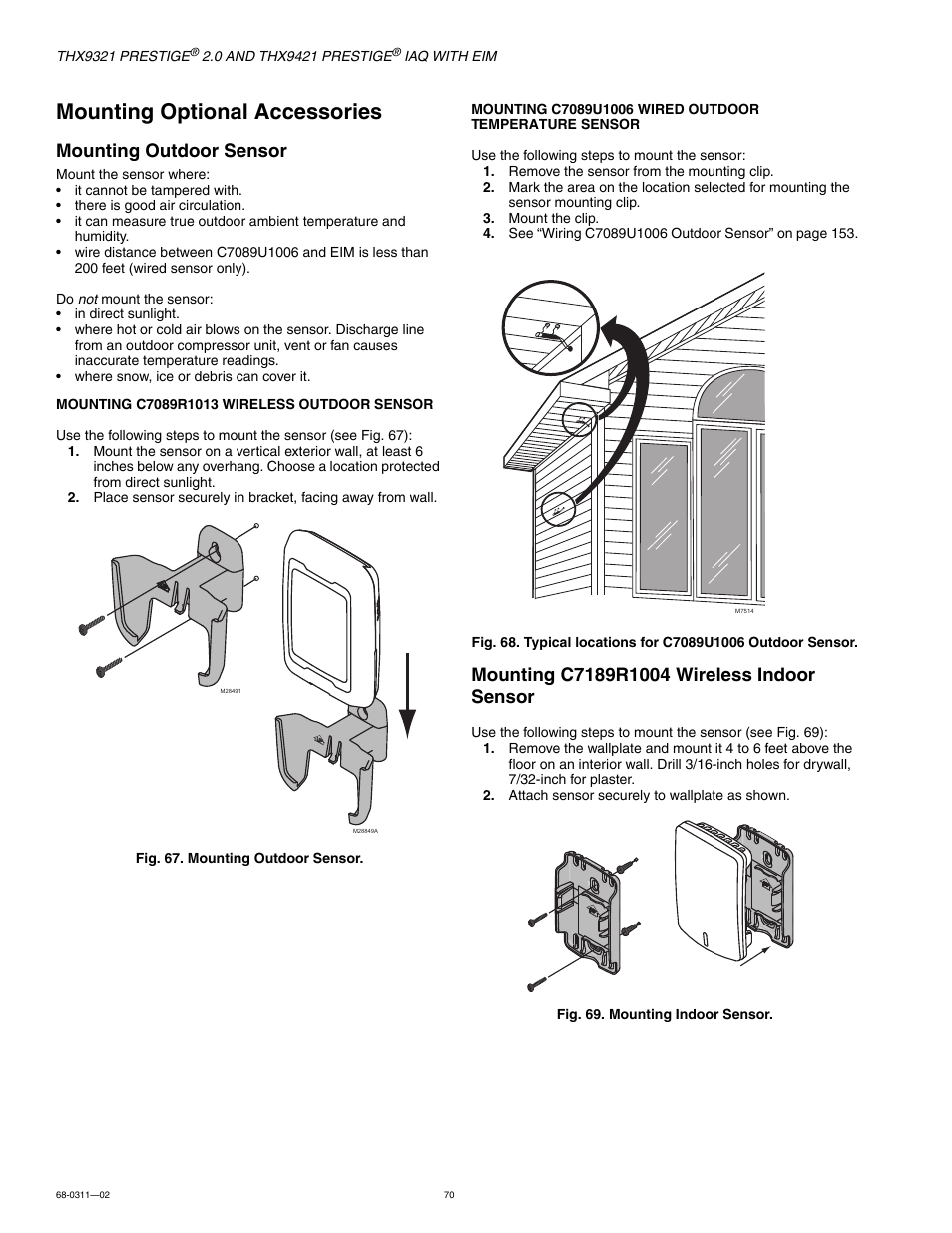 Mounting optional accessories, Mounting outdoor sensor