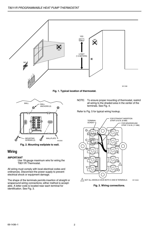 medium resolution of wiring t8011r programmable heat pump thermostat gc r y w1 l w2 honeywell thermostat t8011r wiring diagram