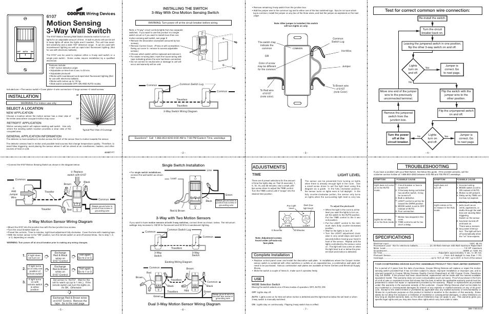 motion sensor light switch wiring diagram honeywell focuspro 5000 3 way heath zenith sensing wall 6107 user manual 2 pages3