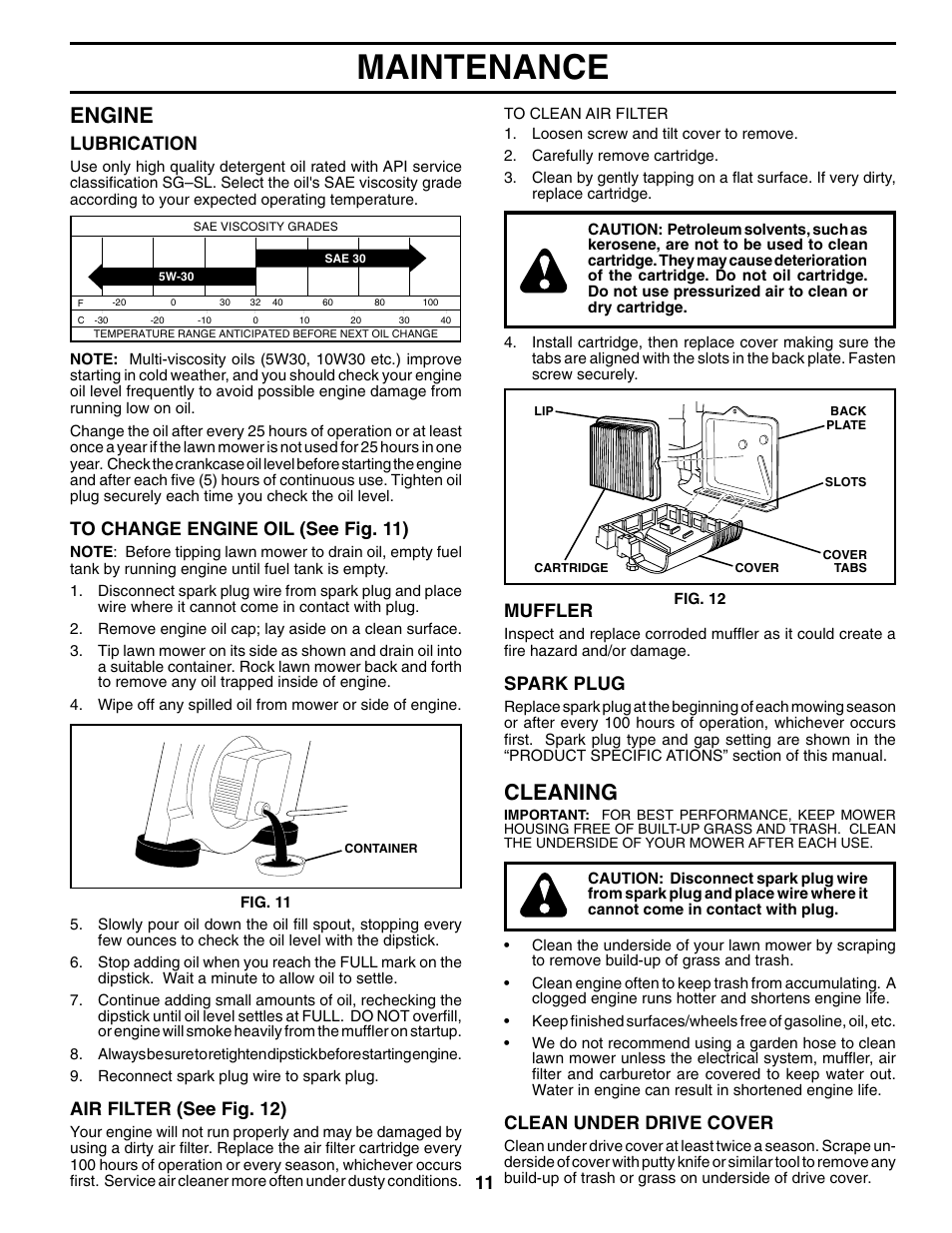 medium resolution of maintenance engine cleaning husqvarna 65021chv user manual page 11 20
