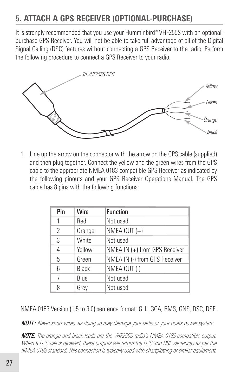 hight resolution of attach a gps receiver optional purchase humminbird vhf255sw user manual page