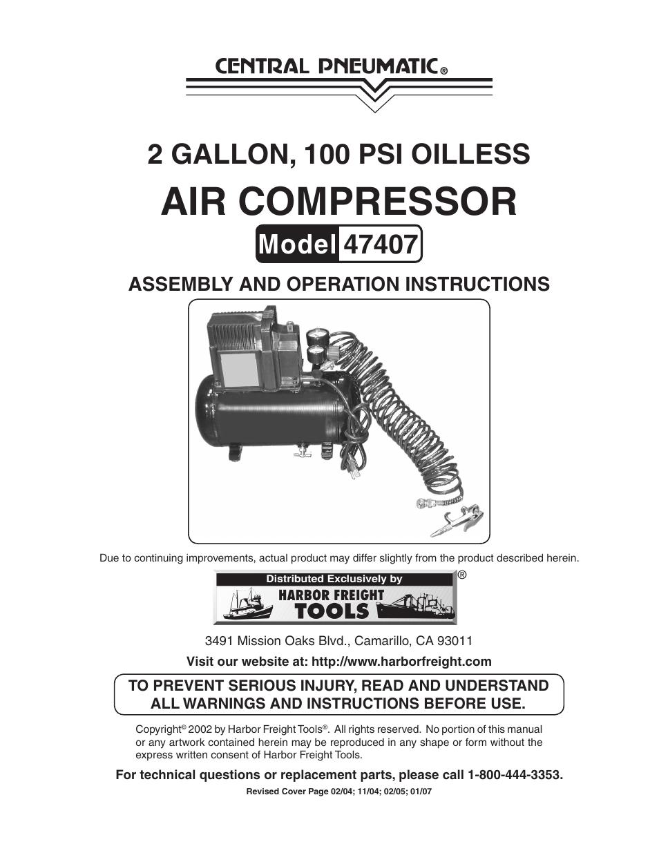 medium resolution of harbor freight tools central pneumatic 47407 user manual