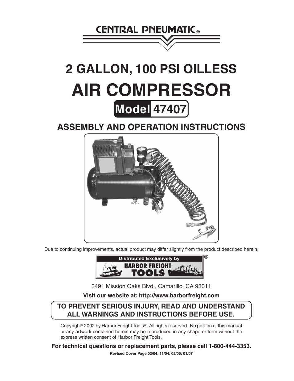 hight resolution of harbor freight tools central pneumatic 47407 user manual
