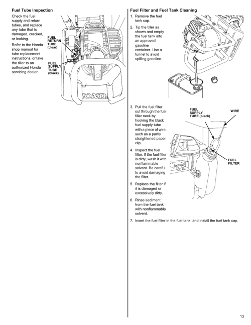 small resolution of fuel tube inspection fuel filter and fuel tank cleaning honda fg110 user manual page 13 24