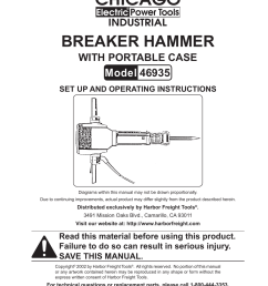 harbor freight tools chicago electric breaker hammer with portable case 46935 user manual 10 pages [ 954 x 1235 Pixel ]