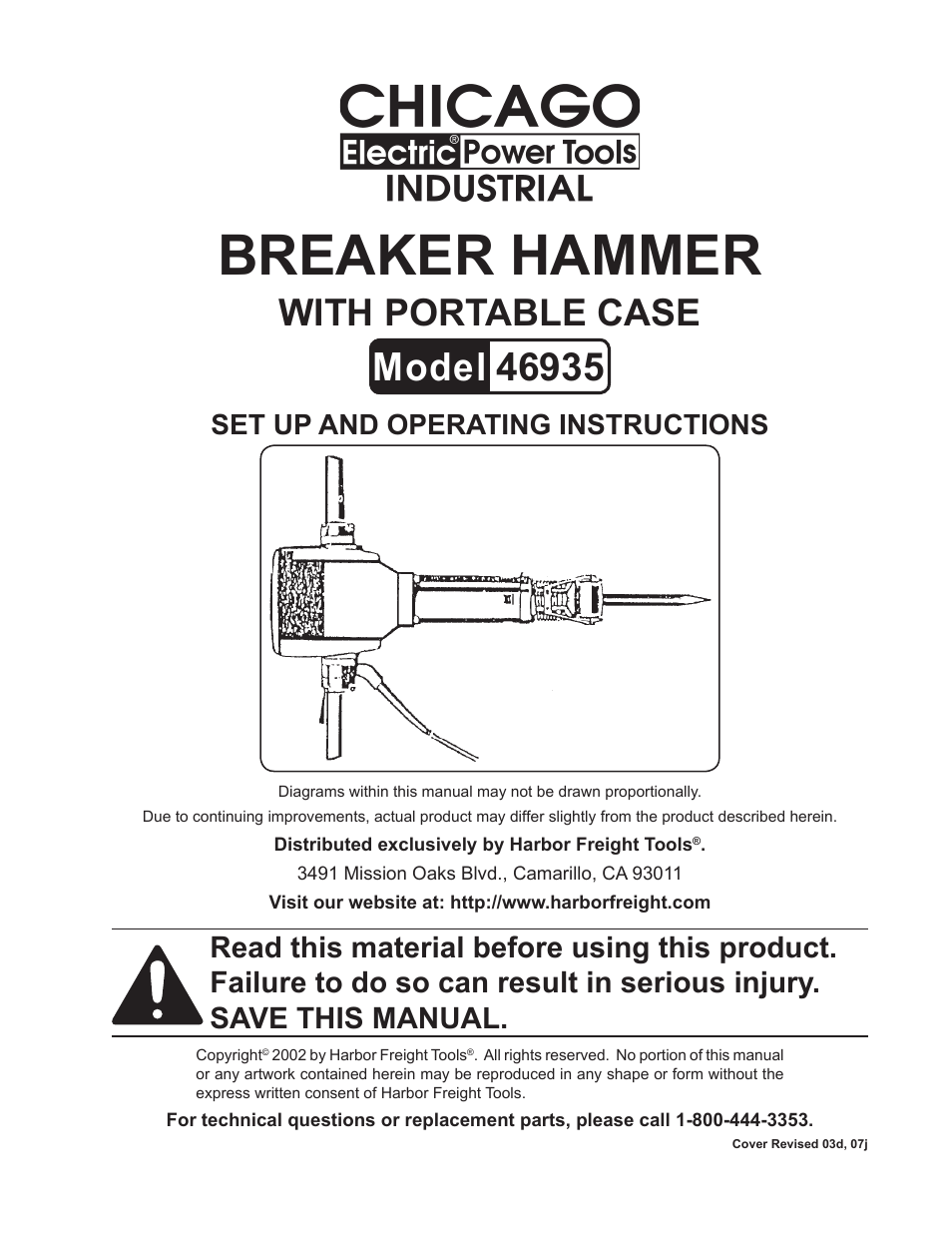 hight resolution of harbor freight tools chicago electric breaker hammer with portable case 46935 user manual 10 pages