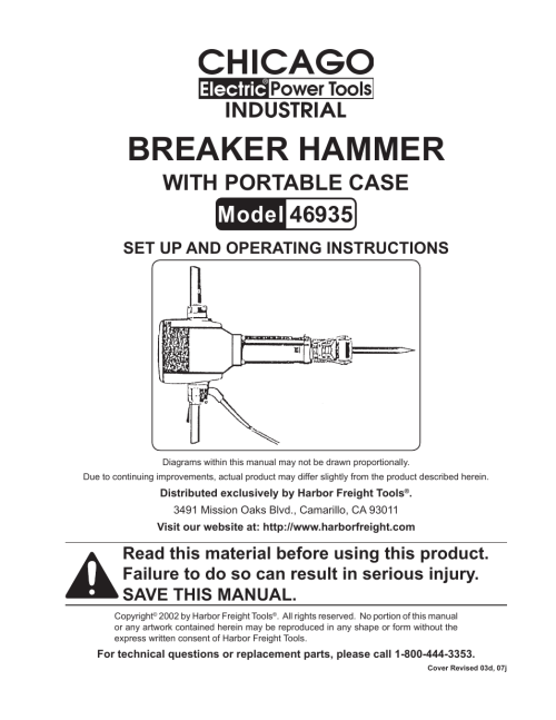 small resolution of harbor freight tools chicago electric breaker hammer with portable case 46935 user manual 10 pages