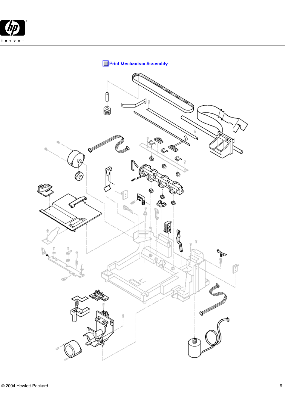 Deskjet 693c, Hp parts reference guide, Print mechanism