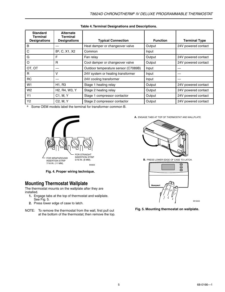 thermostat terminal designations