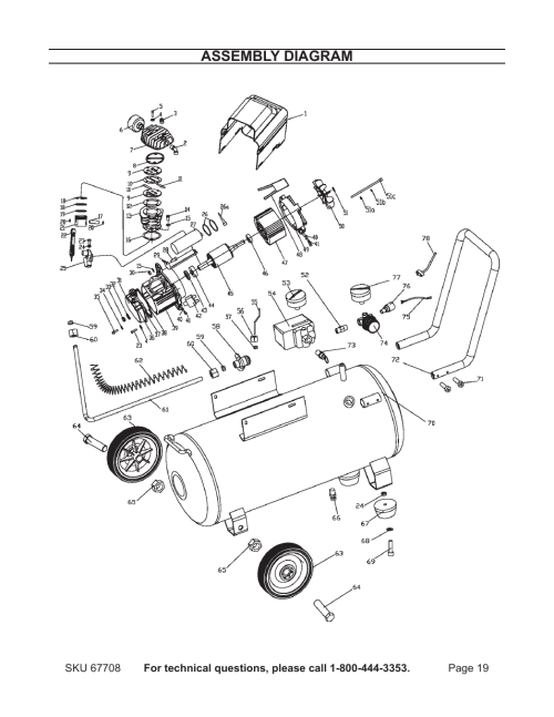 small resolution of assembly diagram harbor freight tools air compressor 67708 user manual page 19 20