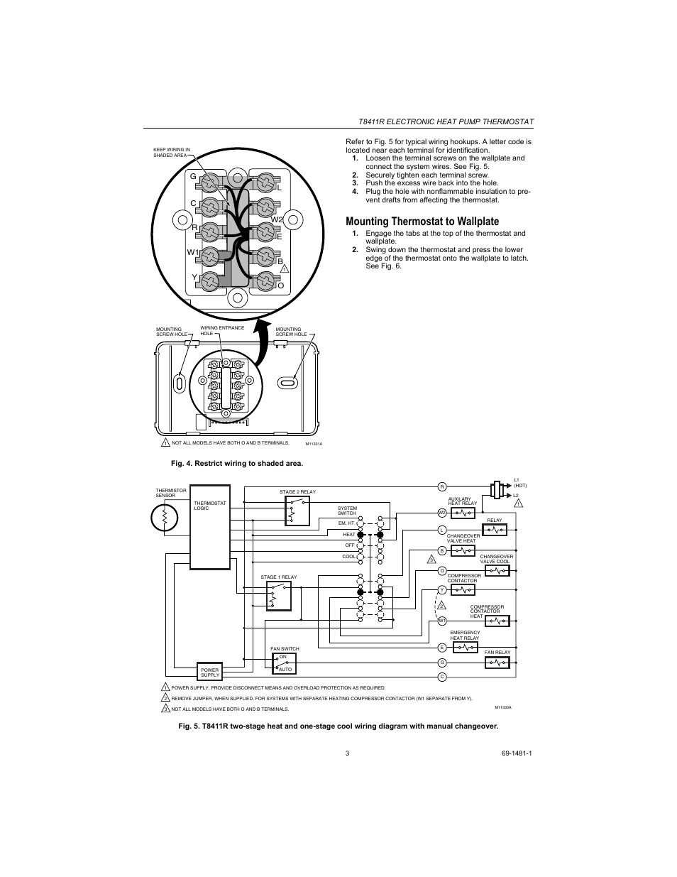 hight resolution of mounting thermostat to wallplate honeywell heat pump thermostat t8411r user manual page 3 6