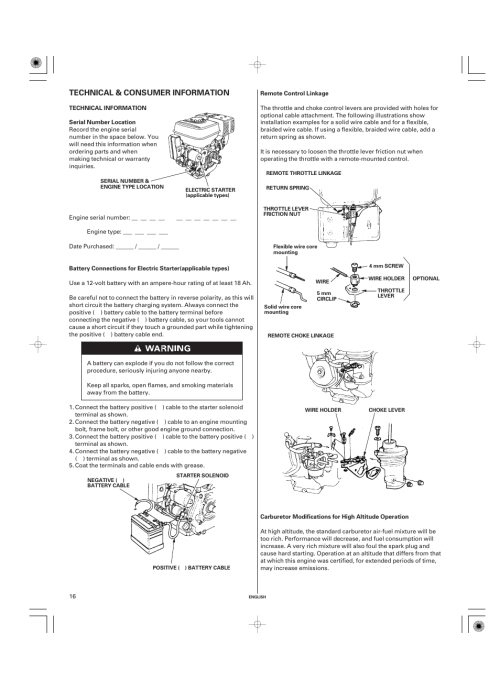 small resolution of technical consumer information technical information serial number location honda gx270 user manual page 16 60
