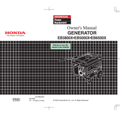 honda eb5000x user manual 71 pages rh manualsdir com honda eb5000 generator honda eb5000 service manual [ 1350 x 954 Pixel ]