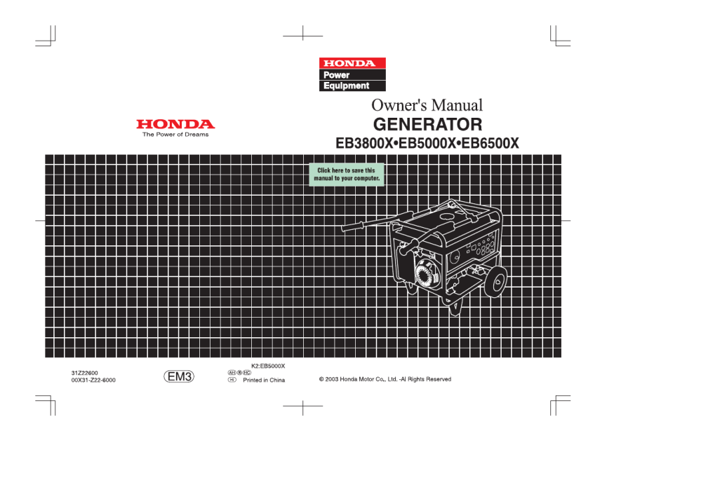 medium resolution of honda eb5000x user manual 71 pages rh manualsdir com honda eb5000 generator honda eb5000 service manual