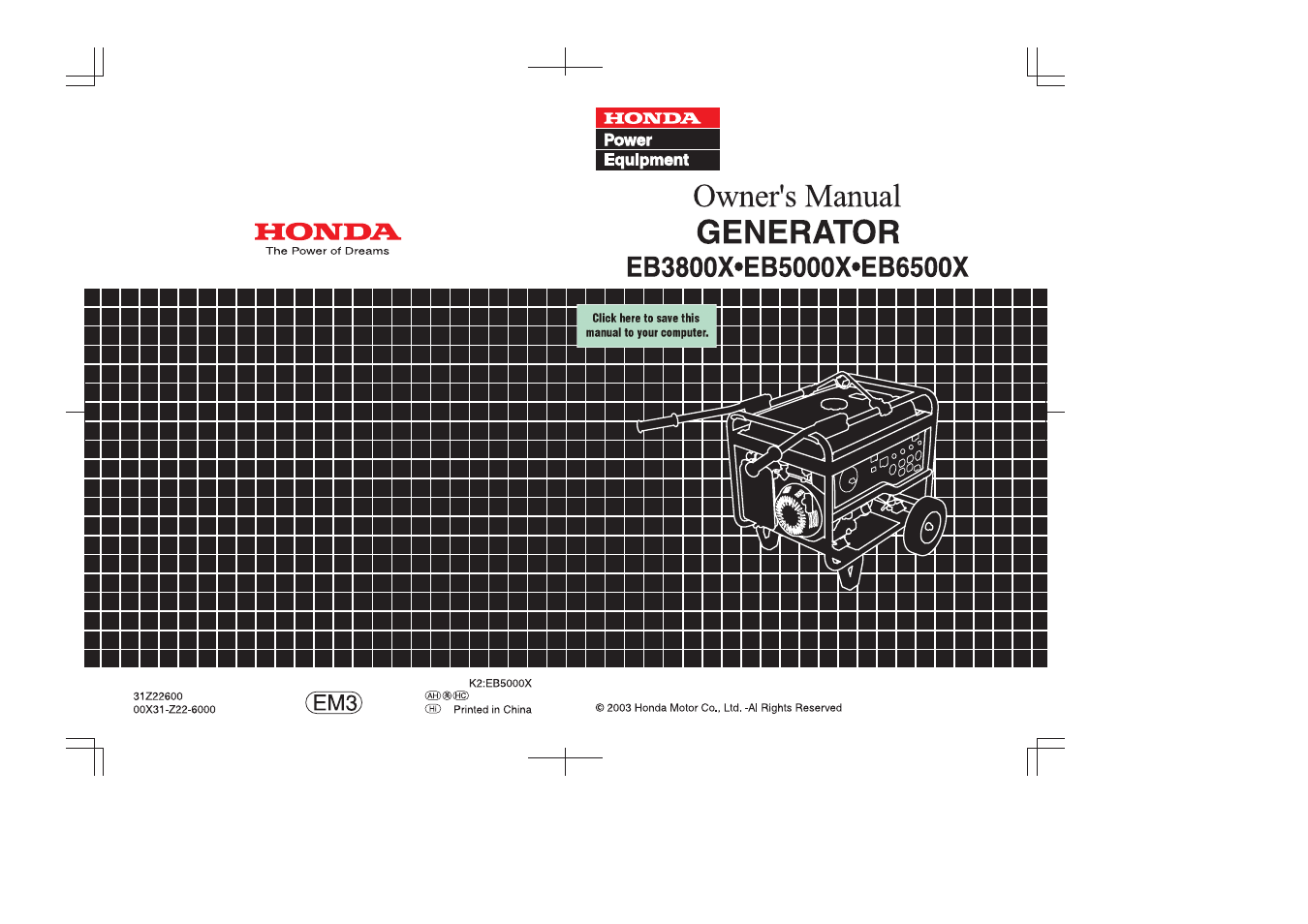 hight resolution of honda eb5000x user manual 71 pages rh manualsdir com honda eb5000 generator honda eb5000 service manual