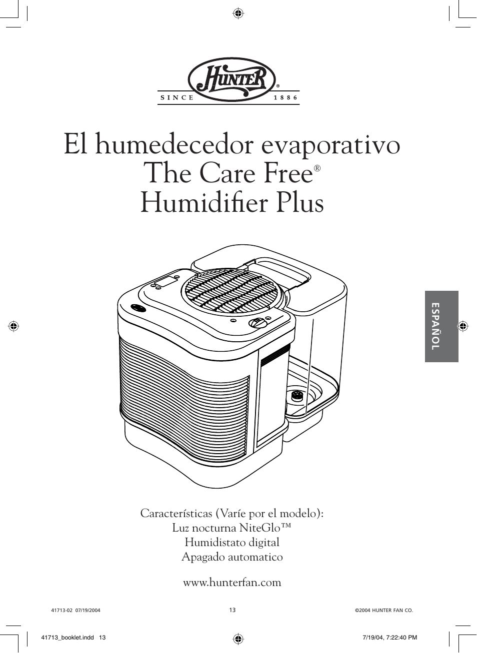El humedecedor evaporativo the care free, Humidifi er plus