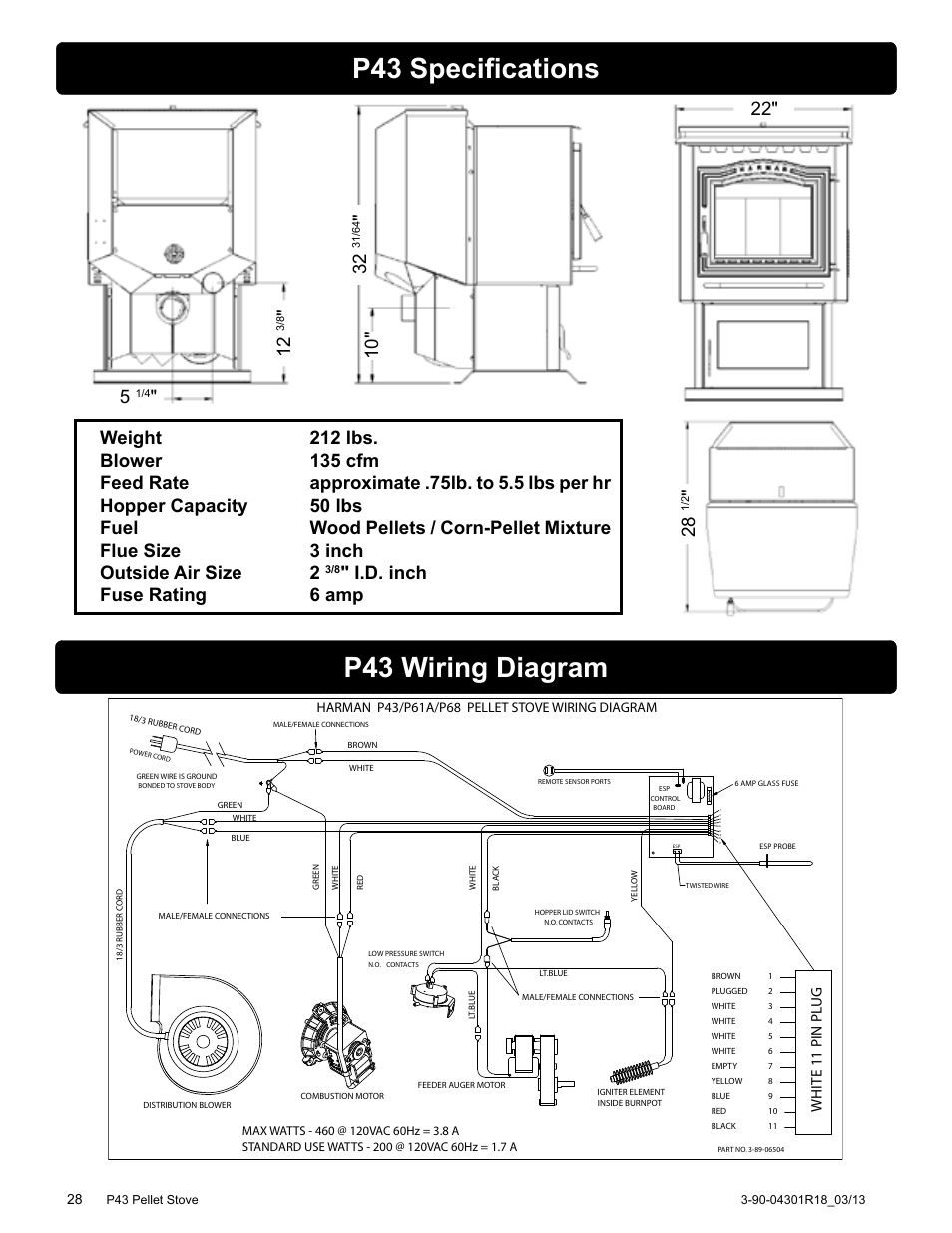 P43 specifications, P43 wiring diagram, I.d. inch fuse