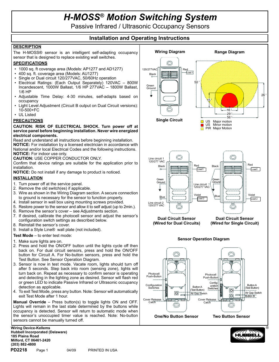 hight resolution of passive infrared ultrasonic occupancy sensors ap1277i1 ap1277i1n au1277i1 au1277i1n hubbell edtv clt2054 user manual page 10 19