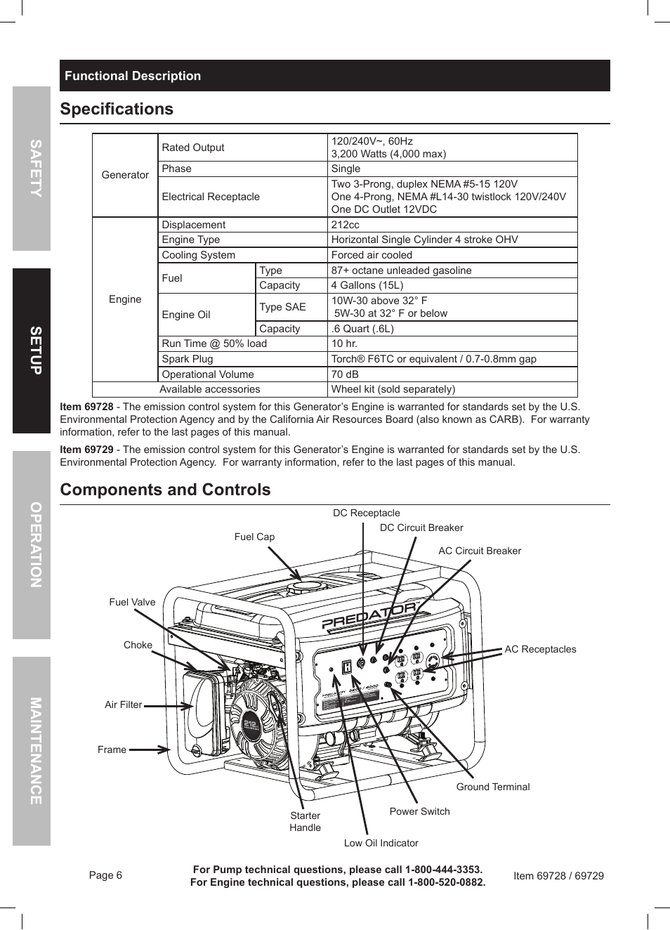 medium resolution of specifications components and controls harbor freight tools predator generator 69728 user manual page 6 24