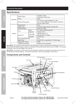 Specifications, Components and controls   Harbor Freight