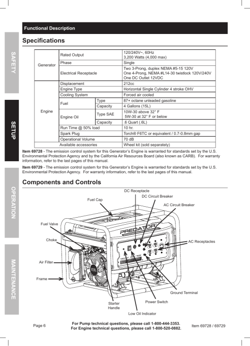 small resolution of specifications components and controls harbor freight tools predator generator 69728 user manual page 6 24
