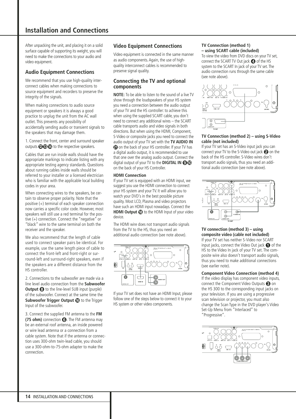 Installation and connections, Audio equipment connections
