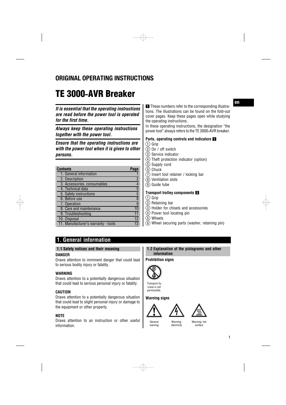 Te 3000 ‑ avr breaker, Original operating instructions