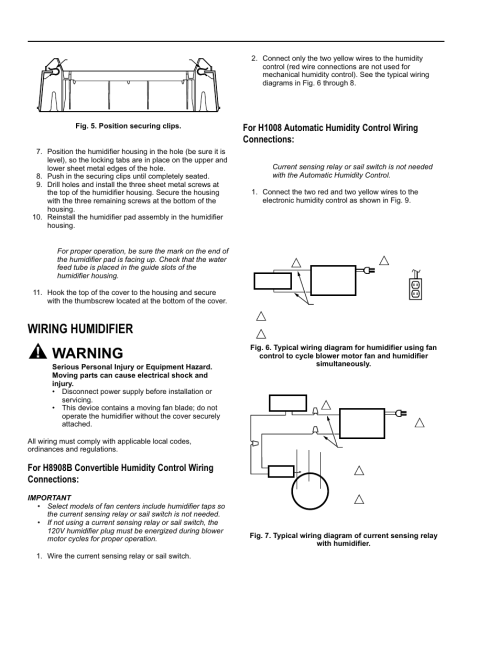 small resolution of warning wiring humidifier honeywell enviracaire he365b user manual page 4 12