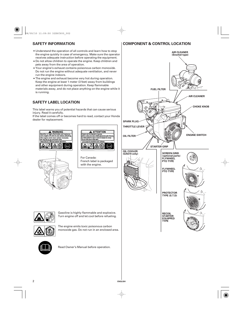 Safety information, Safety label location, Component