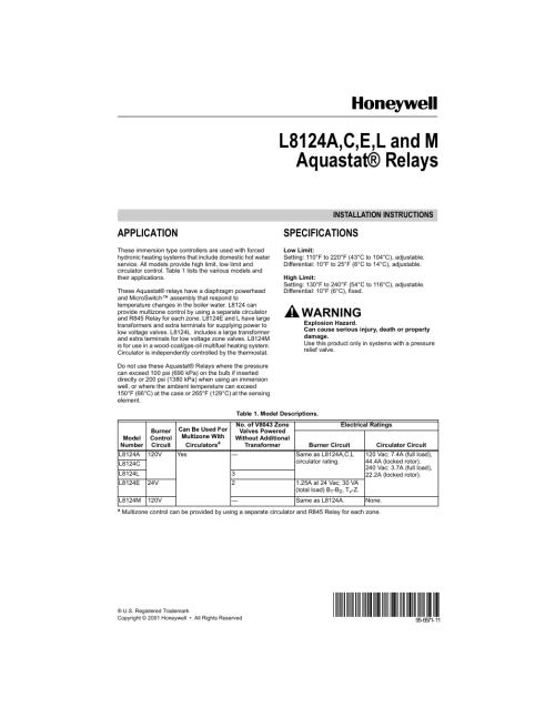 small resolution of honeywell aquastat l8124e user manual 8 pages also for aquastat l8124m aquastat l8124l aquastat l8124c aquastat l8124a