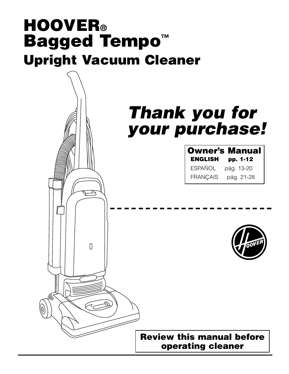 Hoover Bagged Tempo Upright Vacuum Cleaner User Manual