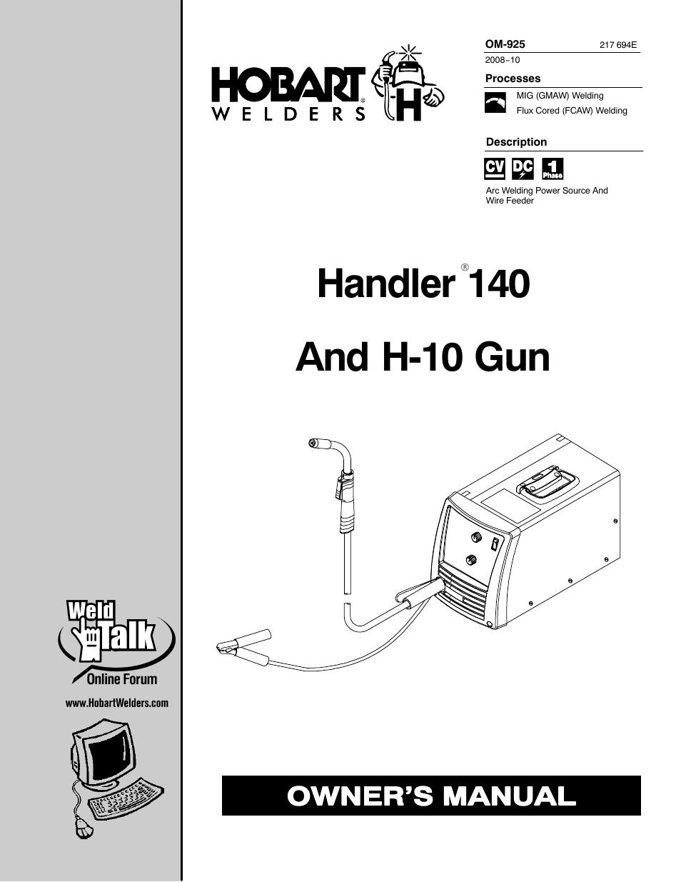 Hobart Welding Products HANDLER 140 OM-925 User Manual