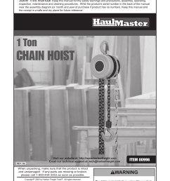 harbor freight tools haulmaster 1 ton chain hoist 996 user manual 12 pages [ 954 x 1324 Pixel ]