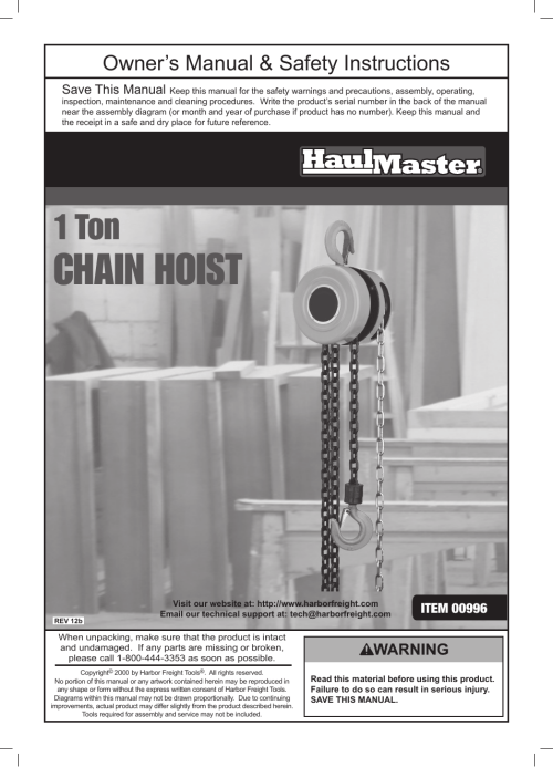 small resolution of harbor freight tools haulmaster 1 ton chain hoist 996 user manual 12 pages