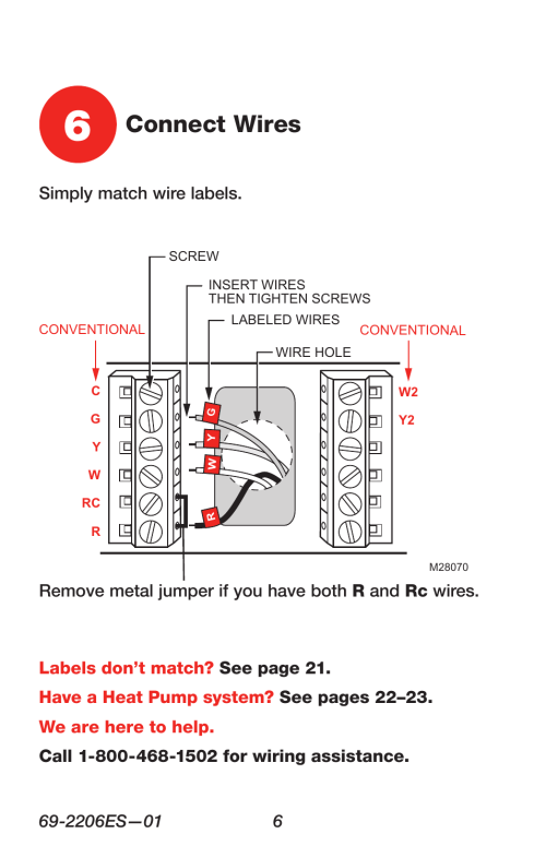 small resolution of connect wires honeywell rth7600 user manual page 8 60 rh manualsdir com honeywell rth7600 troubleshooting honeywell thermostat wiring diagram