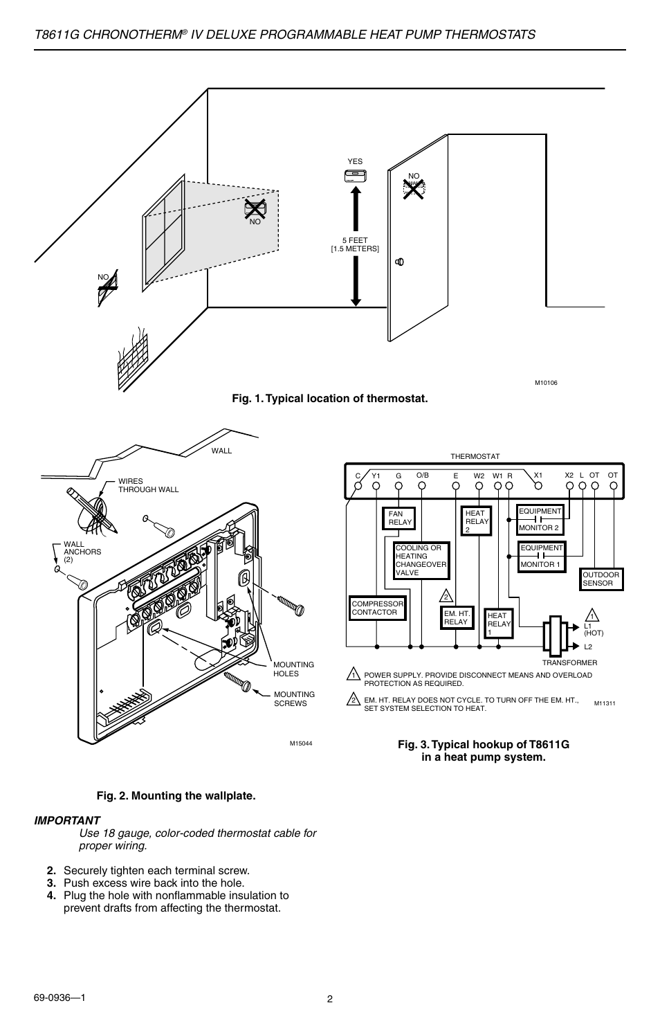 hight resolution of t8611g chronotherm iv deluxe programmable heat pump thermostats honeywell t8611g thermostat wiring diagram