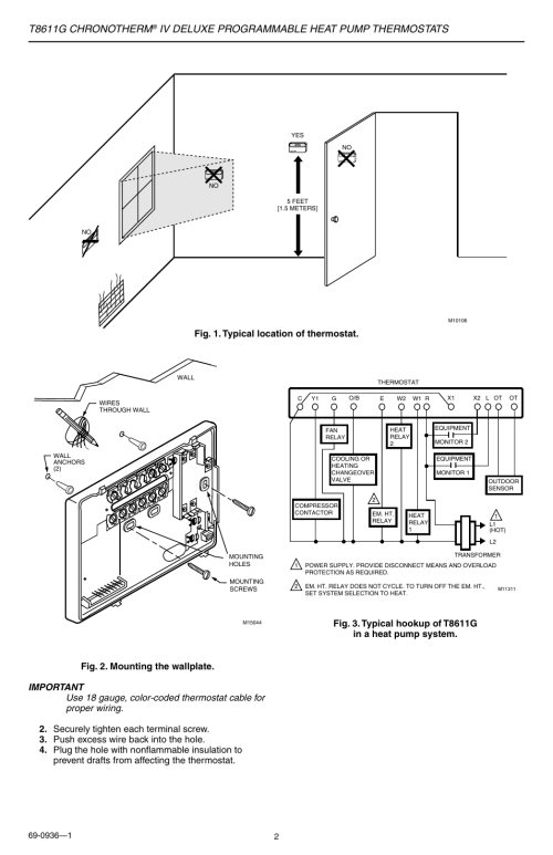 small resolution of t8611g chronotherm iv deluxe programmable heat pump thermostats honeywell t8611g thermostat wiring diagram