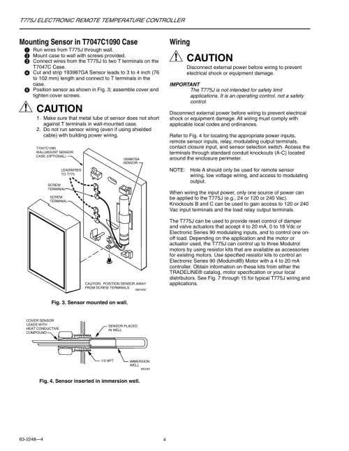 small resolution of caution wiring honeywell electronic remote temperature controller t775j user manual page 4 20