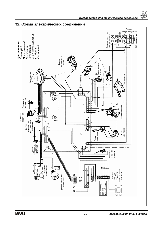 Схема электрических соединений, 39 газовые настенные котлы