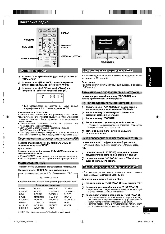 Настройка радио, Настройка распределения диапазона am