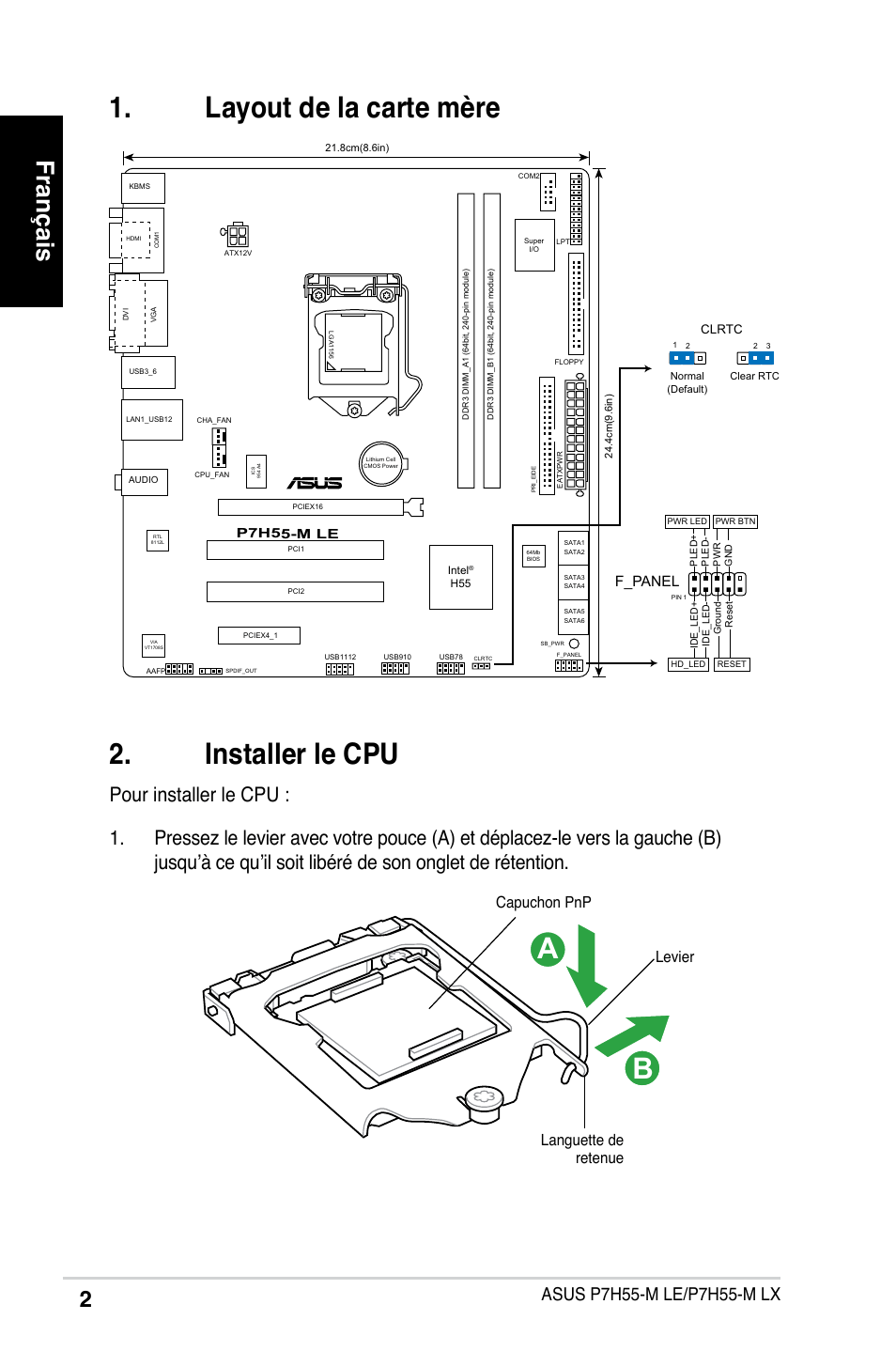 Installer le cpu, Layout de la carte mère, Français