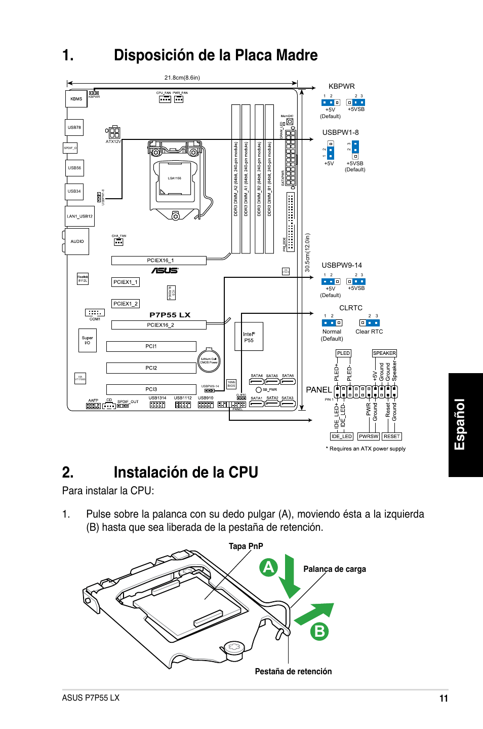 Español, Asus p7p55 lx, Palanca de carga pestaña de