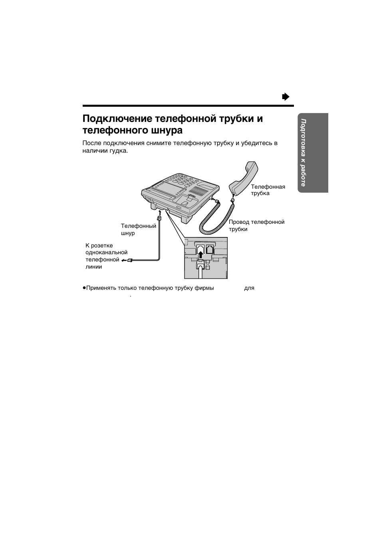Подключение телефонной трубки и телефонного шнура