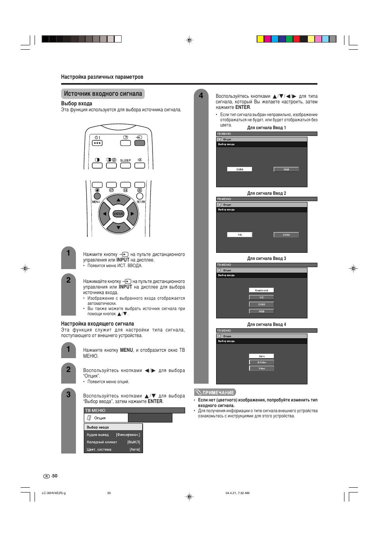 Источник входного сигнала, Выбор входа, Настройка