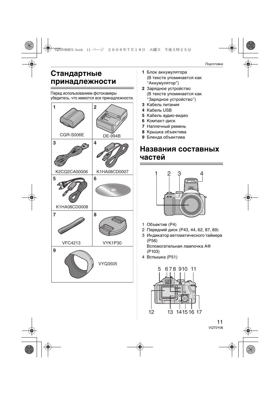 Стандартные принадлежности, Названия составных частей
